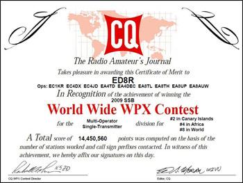 Diploma ED8R - CQ WPX SSB 2009